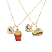 Lux Accessories Goldtone Burgers and Fries Best Friends BFF Charm Necklace Set