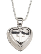 Precious Pieces Girl's Sterling Silver First Communion Cross Heart Locket Necklace 36cm