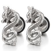 Pair Mens Boys Stainless Steel Dragon Stud Earrings, Screw Back