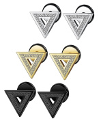 Sailimue 3-4 Pairs Stainless Steel Triangle Stud Earrings for Men Women Ear Piercing