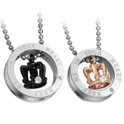Cupimatch 2-Piece Stainless Steel CZ Queen King Crown Matching Pendant Couple Necklace with 60cm Chain