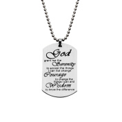 God Grant Me The Serenity Quote Dog Tag Keyring Necklace Inspirational Gift