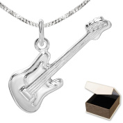 Clever Jewellery Silver Pendant Small Bass Guitar 23 mm Shiny with Curb Chain 45 cm 925 Sterling Silver in Case