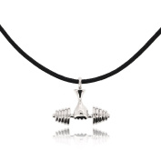 Sovats Men Black Dumbbell Cord Necklace