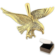 Clever Jewellery Golden Pendant Large Eagle Flying 36 x 21 mm shiny 333 gold 8 carat in Case
