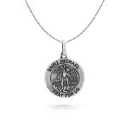 Bling Jewellery Antiqued Finish St Michael Medal Pendant Sterling Silver 46cm Necklace