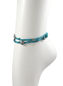 Turquoise Double Wrap Charm Anklet For Good Luck & Prosperity