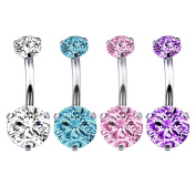 BodyJ4You 4PC Belly Button Ring Surgical Steel Internally Threaded Round CZ Body Piercing Navel Bar 14G