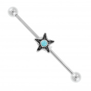 BodyJ4You Industrial Barbell Earring Starfish Stainless Steel 14G Cartilage Body Piercing