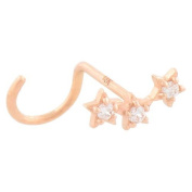 Piercingline® 18ct Rose Gold Spiral Nose Stud Three Crystal Stars