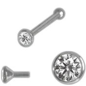 Nose Stud Nose Piercing Goblet with Zirconia 925 Silver Ace 1.5 mm and Ball
