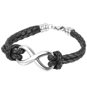 Oidea Mens Women Stainless Steel Infinity Symbol Charm Leather Braided Bracelet,21cm