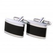 DonDon® Men's Cufflinks Stainless Steel Silver / Black - Delivered in Velvet Bag