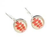 Red leafs earrings leaves silver Miniblings Cabochon autumn plant