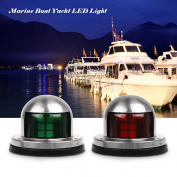 Boat Navigation Lights, ONEVER Green and Red Marine Boat Yacht Led Lights, Stainless Steel Bow Navigation Lights, DC 12V