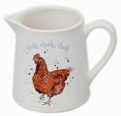 The Country Life Small White China Glazed Ceramic Jug For Milk ~ Hen