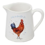 The Country Life Small White China Glazed Ceramic Jug For Milk ~ Rooster
