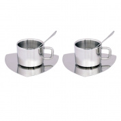 Kosma Set Of 6pc Stainless Steel Double Wall Coffee Cup | Espresso | Tea Cup & 2