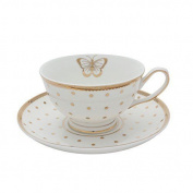 Miss Golightly Butterfly Teacup And Saucer White With Gold Spots