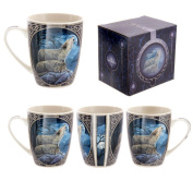 Lisa Parker Howling Wolf In Forest Moon Gothic Celtic Boxed Bone China Cup Mug