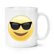 Sunglasses Emoji 300ml Mug Cup - Funny Smiley Face Novelty Tea Coffee
