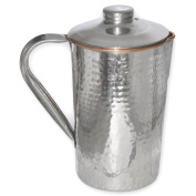 Hammered Copper Steel Drinkware Accessories Water Pitcher Jug With Lid