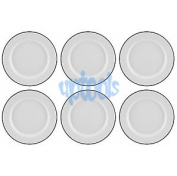 6 X 20cm Traditional Falcon White Enamel Dinner Plate - Roasting Baking Camping