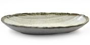 Japanese Ceramic Serving Dish Sushi, Noodles Etc - Beige Glaze Bowl Oval Plate