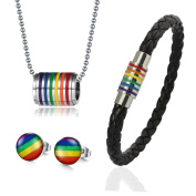 Vnox Gay Men Stainless Steel Pride Jewellery Male Symbol Puzzle Matching Couple Love Pendant Necklace Silver Black