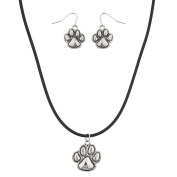 Lux Accessories Paws Animal Earring and Necklace Set
