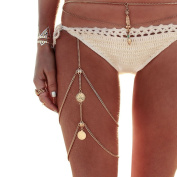 TININNA Chic Vintage Coin Multilayer Leg Chains Women Sexy Body Chain Thigh Chain Beach Chain