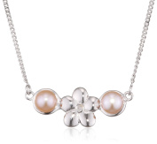 D for Diamond Rose Pearl Flower Necklace of Length 40cm
