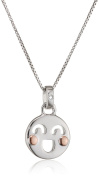 D for Diamond Smiley Face Pendant on a Chain of Length 35.5cm
