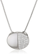 Fiorelli Silver Organic Pave Oval Drop Pendant on a Chain of Length 41cm