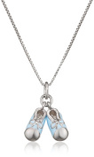 D for Diamond Blue Enamel Baby Booties Pendant on a Chain of Length 35.5cm
