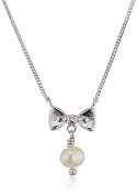 D for Diamond Bow and Pearl Necklace of Length 40cm