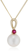 Elements Gold 9ct Yellow Gold Ruby and Pearl Pendant on a Chain of Length 46cm