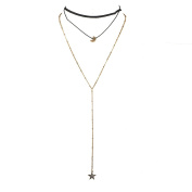 Lux Accessories Black Gold Tone Celestial Moon and Star Sexy Y Choker Necklace