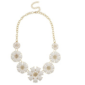 Lux Accessories Gold Tone and White Floral Flower Fashion Statement Necklace