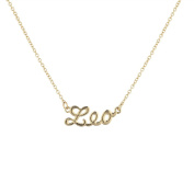 Lux Accessories Gold Tone Leo Astrological Script Nameplate Necklace