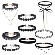 Oidea Wholesale 9 pcs Womens Sexy Black Velvet Choker Collar Lace Tattoo Necklace