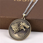 Game of Thrones House Stark Sigil Necklace with House Words - Gold