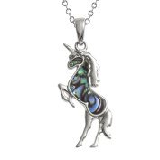 Kiara Jewellery Unicorn Pendant Necklace Inlaid With Natural greenish blue Paua Abalone Shell on 46cm Trace Chain. Non Tarnish Silver Colour Rhodium plated.