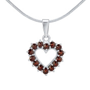 Pendant heart with Real Bohemian Garnet 925 Sterling Silver