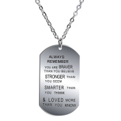 BESPMOSP Always Remember You Are Braver Stronger Smarter Than You Think Pendant Necklace