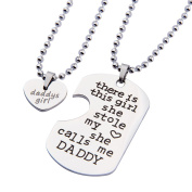 Father's Day Gift Daddys Girl Necklace There Is This Girl She Stole My Heart She Calls Me Daddy Necklace Set