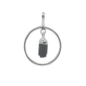 Hanging Rough Natural Black Tourmaline in Silver Plated Hoop Pendant