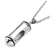 Zysta Stainless Steel + Glass Open Container Cylinder Tube Urn Memorial Pendant Necklace, Memorial Human Being Ash Keepsake Cremation Jewellery