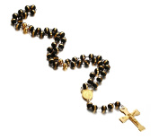 Vnox Stainless Steel Rosary Beads Long Chain Catholic Crucifix Gold Cross Necklace with Medal