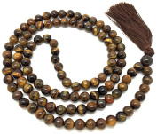 Tiger Eye Japa Mala 108 beads each 8 mm wide, sitting back to back, plus 1 larger guru bead, 35 inches in length, with real gemstones, for use in Meditation or as a Necklace